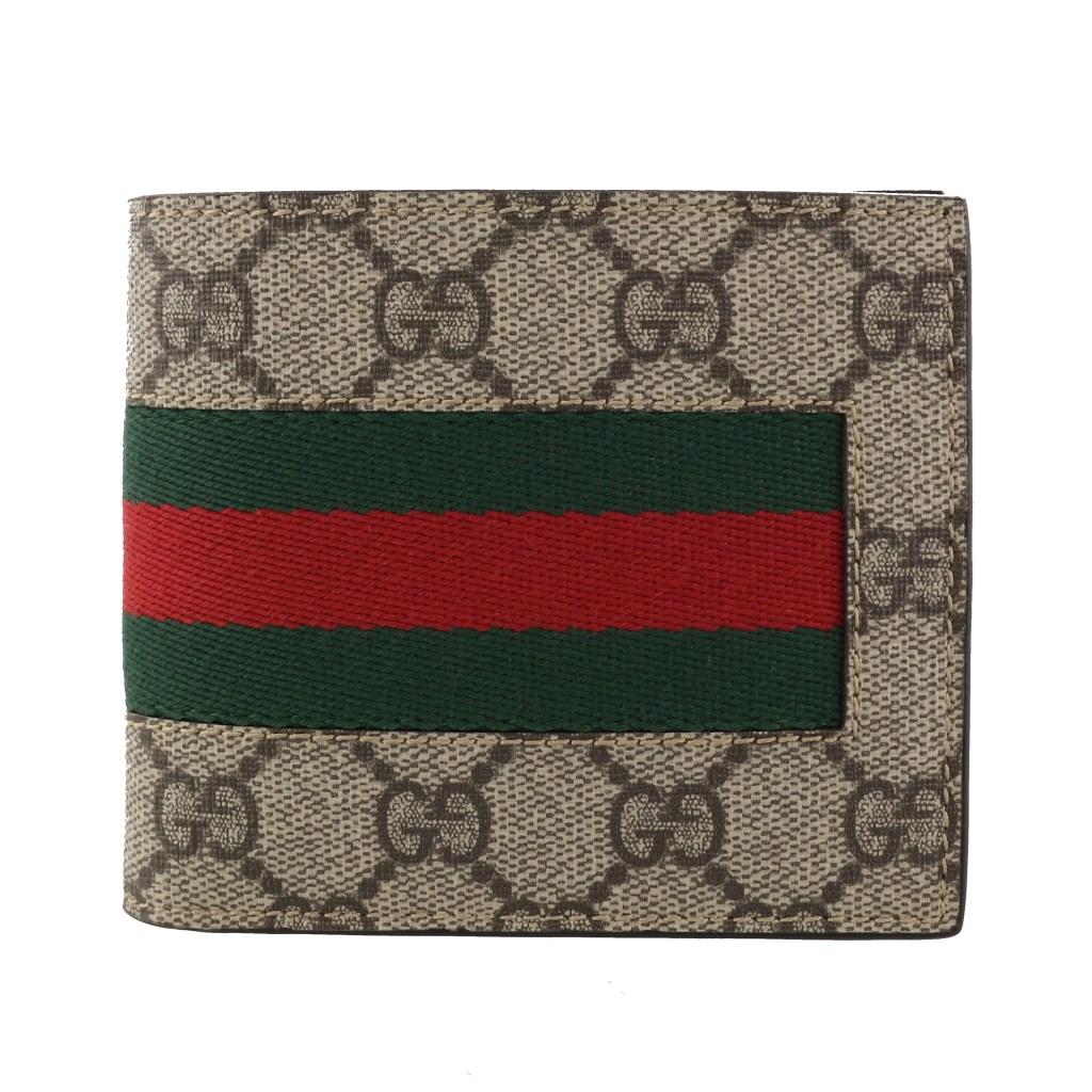 purchase cheap 5979a 1daae グッチ 二つ折り財布 メンズ ニューウェブ ベージュ 408826 ...
